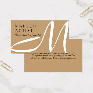 Maskenbildner-stilvolles Monogramm-moderne Wüste Visitenkarten