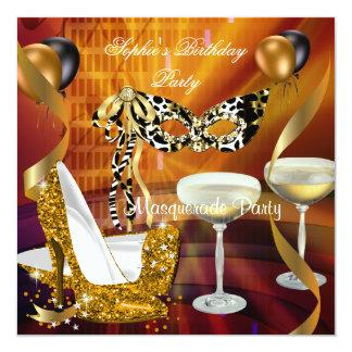 Maskerade-Geburtstags-Goldstilett-Champagne-Party Quadratische 13,3 Cm Einladungskarte
