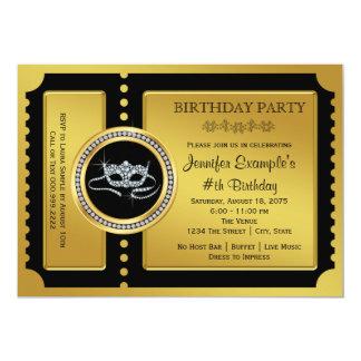 Maskerade-Party-goldenes Karten-Geburtstags-Party 12,7 X 17,8 Cm Einladungskarte