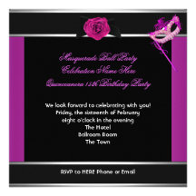 Maskerade Quinceanera Geburtstags-Party-Rosa Personalisierte Einladung