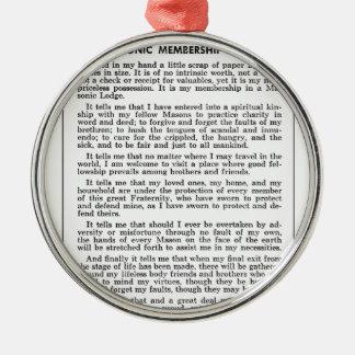masoniccard rundes silberfarbenes ornament