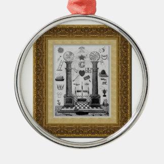 masonicpillars rundes silberfarbenes ornament