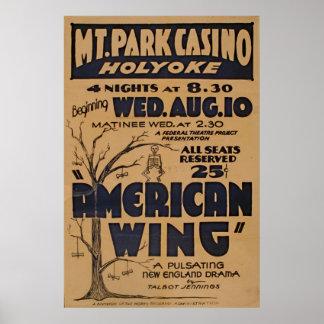 Massachusetts-Gebirgspark-Kasino-Spiel Vintag Poster