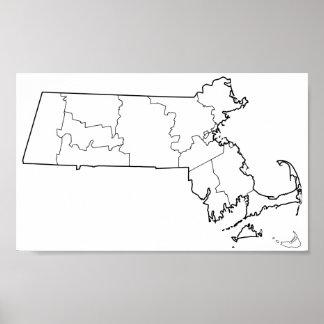 Massachusetts-Landkreis-leere Kontur-Karte Poster