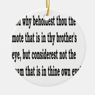 Matt. 7:3, w keramik ornament