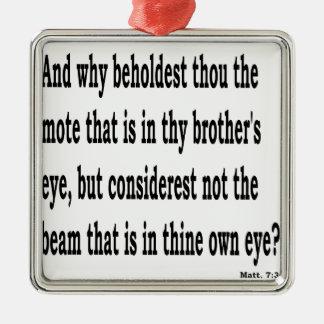 Matt. 7:3, w silbernes ornament
