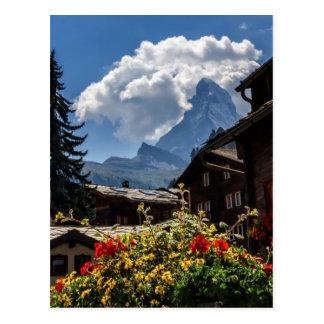 Matterhorn- und Zermattdorfhäuser, die Schweiz Postkarte