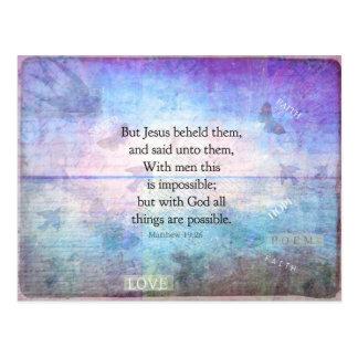 Matthew-19:26 inspirierend Bibel-Vers mit Kunst Postkarte