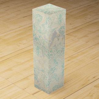 Mattierte blaue Poinsettia auf Silber - Weinbox