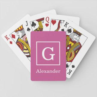 Maulbeerlila weißes gerahmtes Anfangsmonogramm Spielkarten