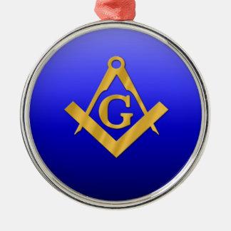 Maurer Freimaurer mit Steigungs-Blau Rundes Silberfarbenes Ornament