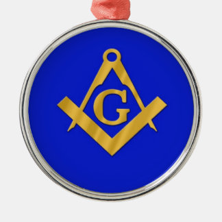 Maurer - Freimaurerblau Rundes Silberfarbenes Ornament
