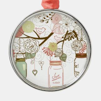 Maurer-Gläser und hübsche Blumen Rundes Silberfarbenes Ornament