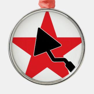 Maurer/Maurerarbeit/Bau/Maçon/Maurer Rundes Silberfarbenes Ornament