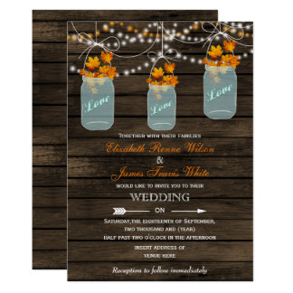 Maurerglas Hochzeit im Herbstseinladung der 12,7 X 17,8 Cm Einladungskarte