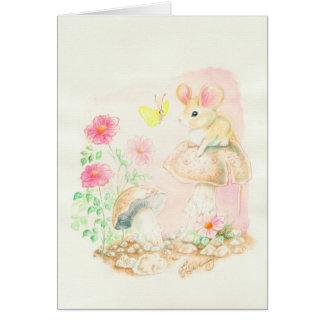 Maus auf Pilz-Kunst Potcards, Gruß-Karten Mitteilungskarte