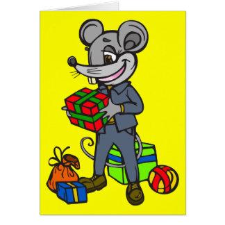 Maus, die Geschenke hält Mitteilungskarte