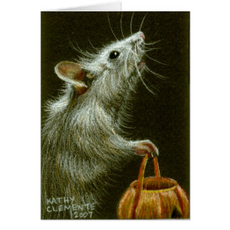 Maus mit Kürbis-Korb HalloweenCard Mitteilungskarte