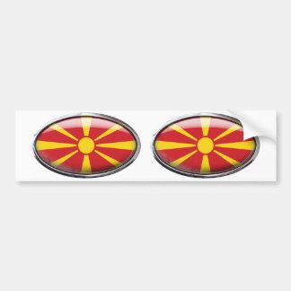 Mazedonien-Flagge im Glasoval Autoaufkleber