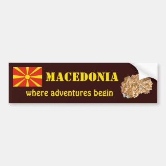 Mazedonien-Flagge + Karten-Autoaufkleber Autoaufkleber