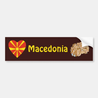 Mazedonien-Flaggen-Herz + Karten-Autoaufkleber Autoaufkleber
