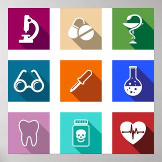 Medizinisches Ikonen-Plakat Poster