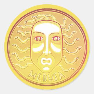 Medusa-Münzenaufkleber Runder Aufkleber