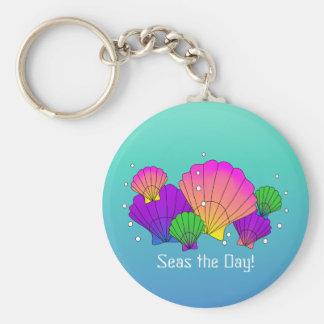 Meere der Tag! Karibische Seashells mit Blasen Schlüsselanhänger