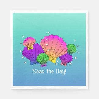 Meere der Tag! Karibische Seashells mit Blasen Servietten