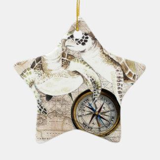 Meeresschildkröte-Kompass-Karte Keramik Stern-Ornament