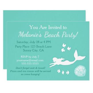 Meerjungfrau-aquamarine 12,7 X 17,8 Cm Einladungskarte