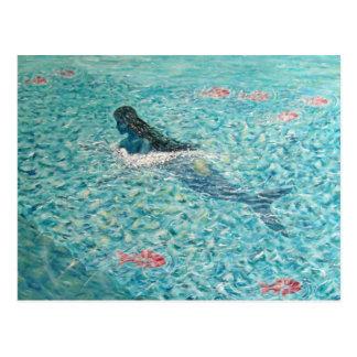 Meerjungfrau gegen die Gezeiten Postkarte