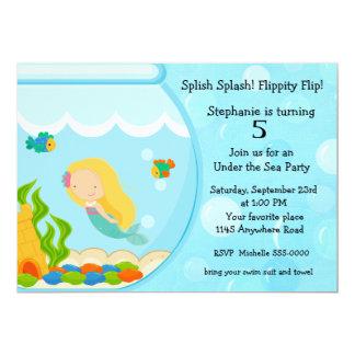 Meerjungfrau in einem Fisch-Schüssel-Geburtstag 12,7 X 17,8 Cm Einladungskarte