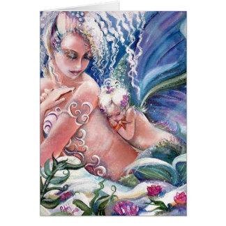 Meerjungfrau-Mama-u. Baby-leere Karte