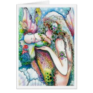 Meerjungfrau-Mamma-und Baby-Grüße Grußkarte