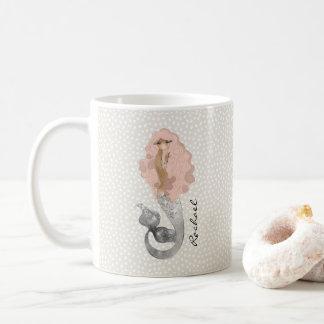 Meerjungfrau mit dem rosa Haar und Ihrem Namen Kaffeetasse