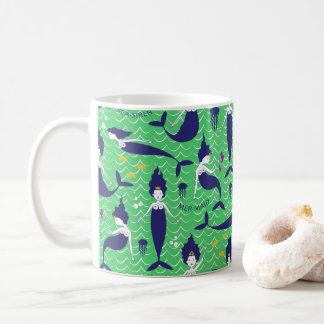 Meerjungfrau-Prinzessin Mug im Grün/in der Marine Tasse