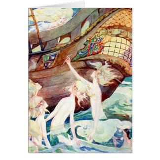 Meerjungfrau-Schwestern und Schiff Karte