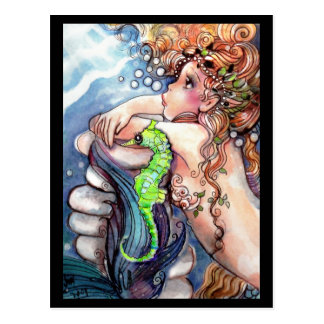 Meerjungfrau u. hellgrüne Seepferd-Postkarte Postkarte