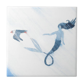 Meerjungfrau und Papageientaucher Keramikfliese