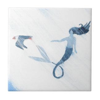 Meerjungfrau und Papageientaucher Kleine Quadratische Fliese