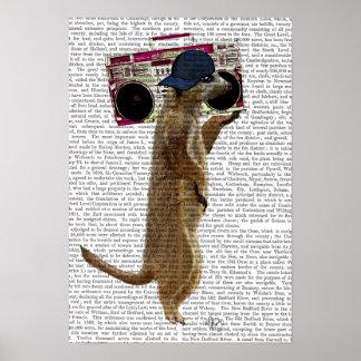 Meerkat mit Ghettoblaster-Getto-Bläser Poster
