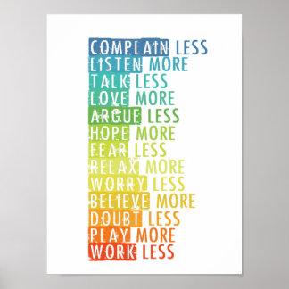 Mehr und weniger Plakat