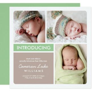 Mehrfacher Foto-Geburts-Mitteilung| grüner Taupe Quadratische 13,3 Cm Einladungskarte