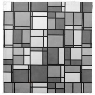 Mehrfaches graues Weiß Mondrian inspiriertes Stoffserviette