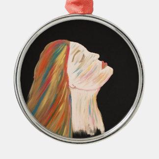 Mehrfarbenfrau Rundes Silberfarbenes Ornament