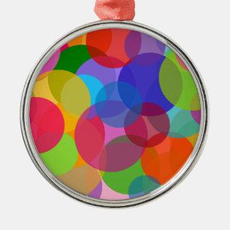 Mehrfarbenkreise u. Punkte Rundes Silberfarbenes Ornament