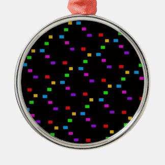 MEHRFARBENmuster Rundes Silberfarbenes Ornament