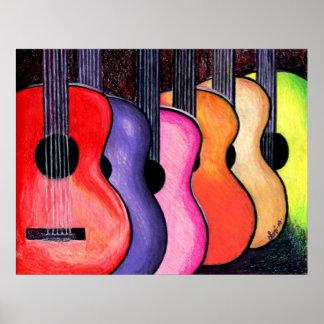Mehrfarbiges Gitarren-Plakat durch Loni Poster