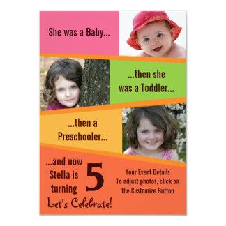 Meilenstein-Geburtstag - Mädchen 11,4 X 15,9 Cm Einladungskarte